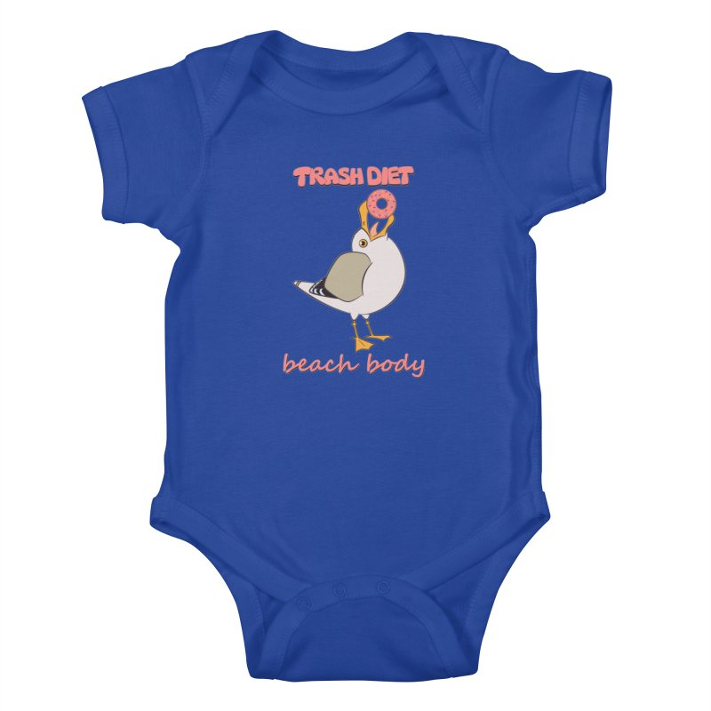 TRASH DIET, BEACH BODY Kids Baby Bodysuit by lysandraws presents: crass commercialism!