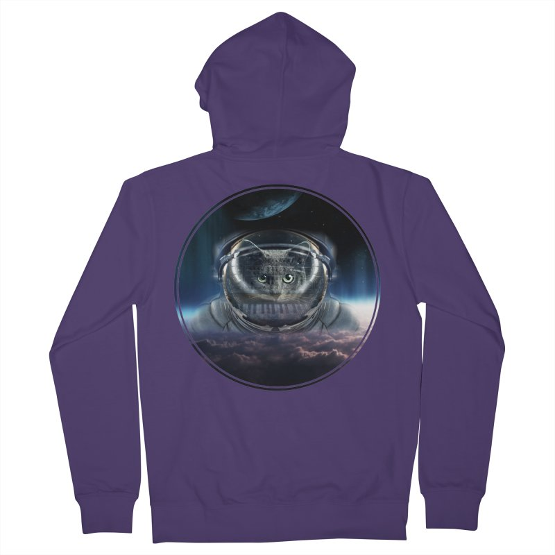 Cat on Synthesizer in Space Women's Zip-Up Hoody by M4tiko's Artist Shop