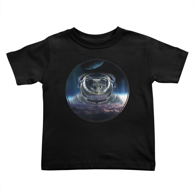 Cat on Synthesizer in Space Kids Toddler T-Shirt by M4tiko's Artist Shop