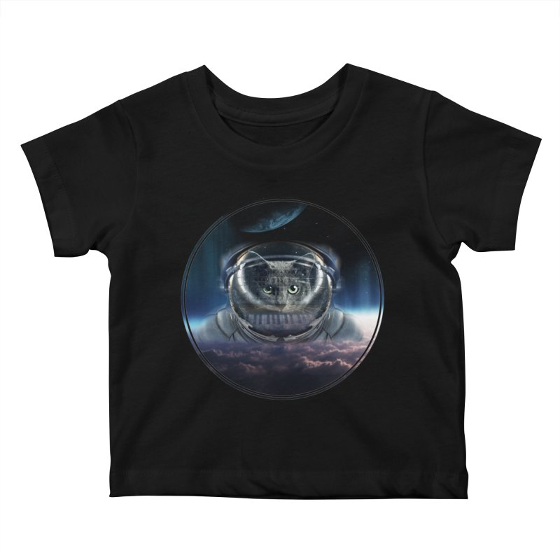 Cat on Synthesizer in Space Kids Baby T-Shirt by M4tiko's Artist Shop