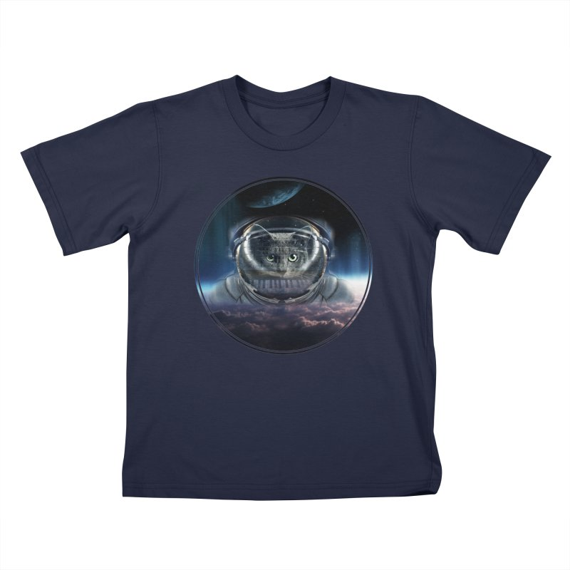 Cat on Synthesizer in Space Kids T-Shirt by M4tiko's Artist Shop