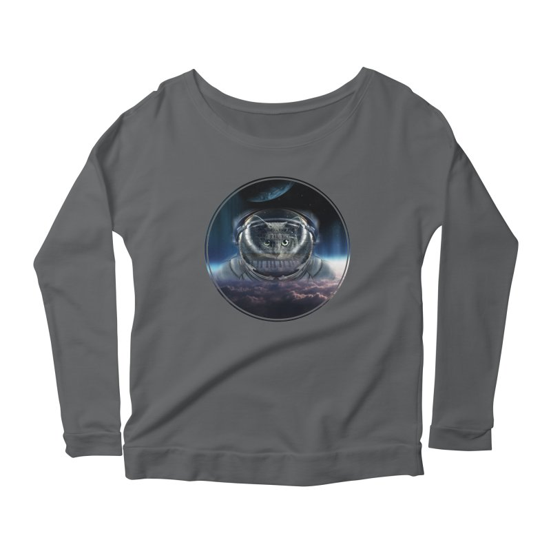 Cat on Synthesizer in Space Women's Longsleeve T-Shirt by M4tiko's Artist Shop