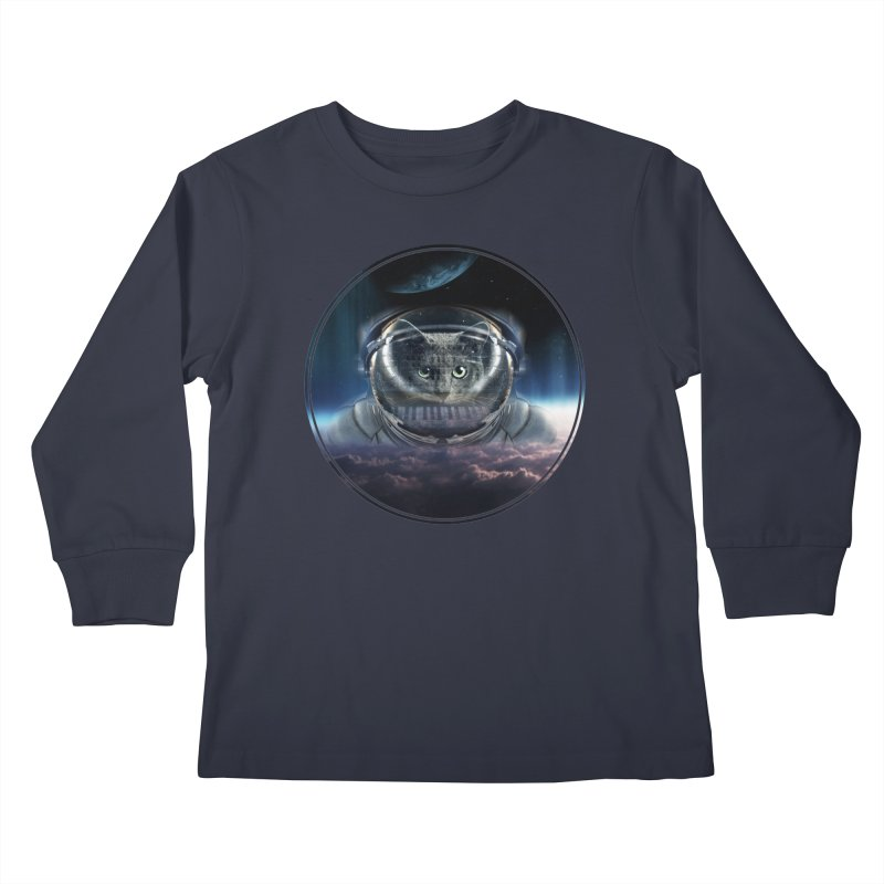 Cat on Synthesizer in Space Kids Longsleeve T-Shirt by M4tiko's Artist Shop