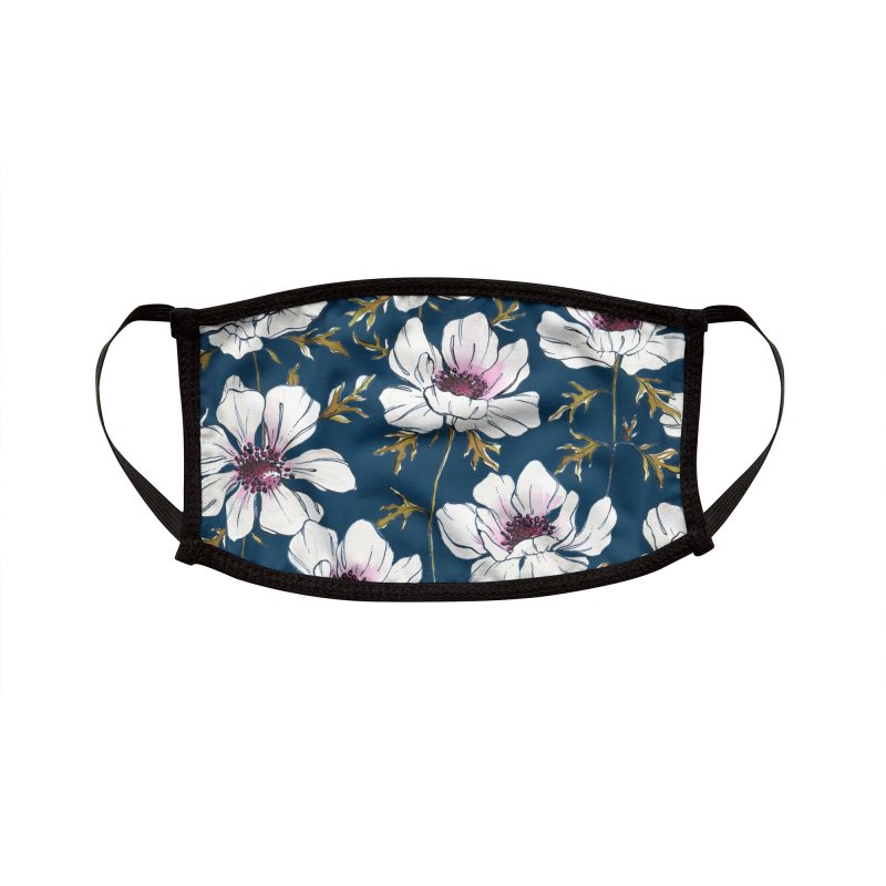 anemones - blue Accessories Face Mask by Maayan Alper-Swan
