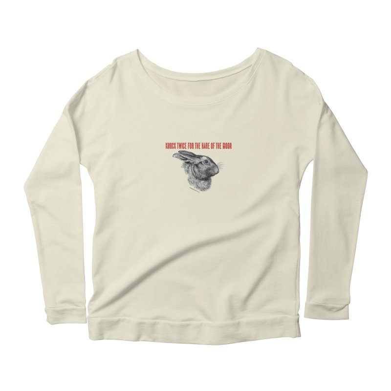 Hare of the Moon (white) Women's Scoop Neck Longsleeve T-Shirt by mabelpodcast's Artist Shop