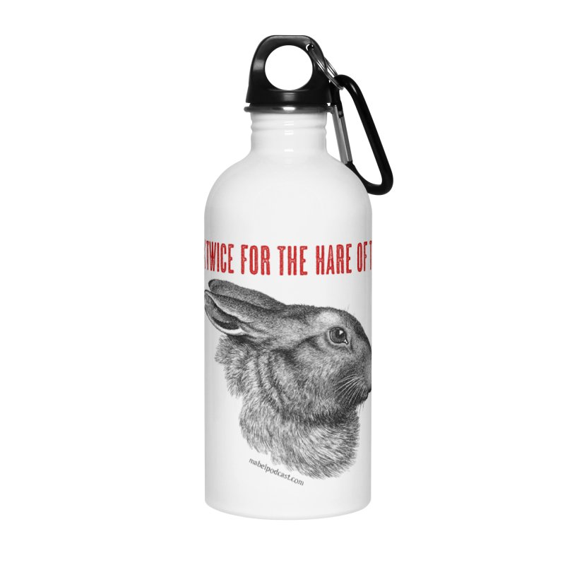 Hare of the Moon (white) Accessories Water Bottle by mabelpodcast's Artist Shop