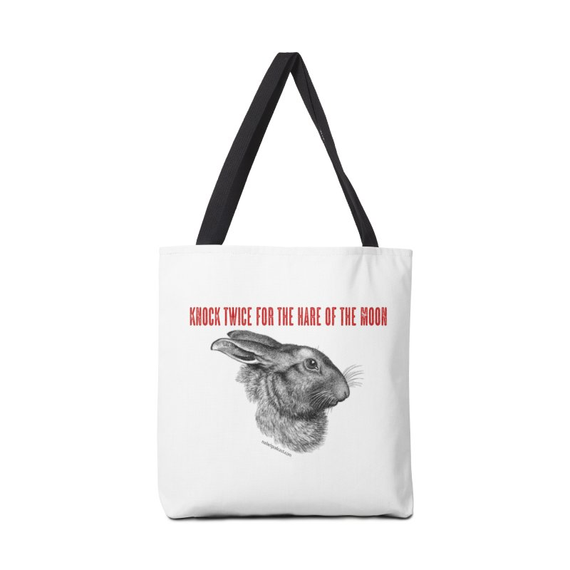 Hare of the Moon (white) Accessories Tote Bag Bag by mabelpodcast's Artist Shop