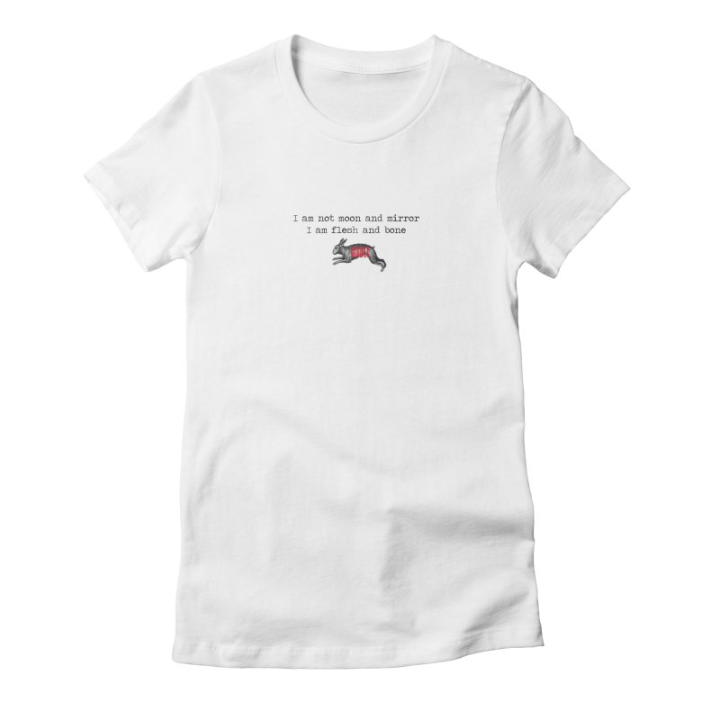 Moon & Mirror (white) Women's Fitted T-Shirt by mabelpodcast's Artist Shop