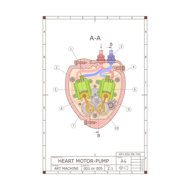 HEART MOTOR PUMP technical drawing by ART MACHINE technical drawing