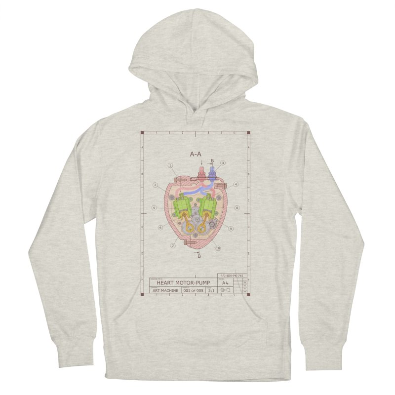 HEART MOTOR PUMP technical drawing Men's French Terry Pullover Hoody by ART MACHINE technical drawing