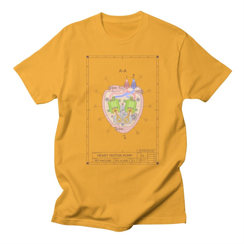 HEART MOTOR PUMP technical drawing Men's Regular T-Shirt by ART MACHINE technical drawing