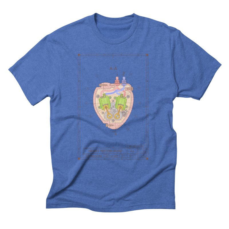 HEART MOTOR PUMP technical drawing Men's Triblend T-Shirt by ART MACHINE technical drawing