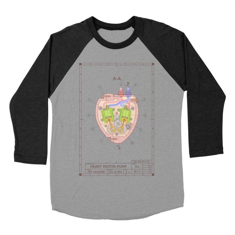 HEART MOTOR PUMP technical drawing Men's Baseball Triblend Longsleeve T-Shirt by ART MACHINE technical drawing