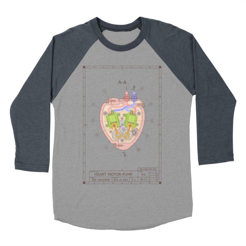 HEART MOTOR PUMP technical drawing Men's Baseball Triblend T-Shirt by ART MACHINE technical drawing