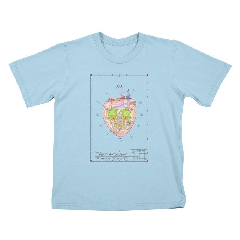HEART MOTOR PUMP technical drawing Kids T-Shirt by ART MACHINE technical drawing
