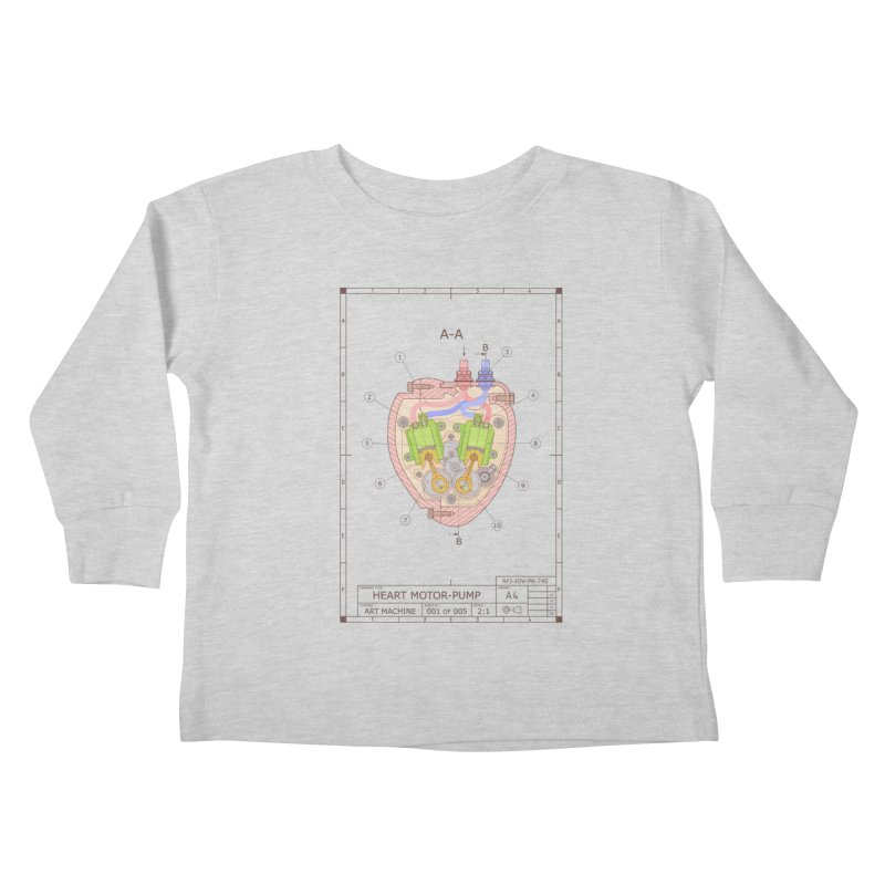 HEART MOTOR PUMP technical drawing Kids Toddler Longsleeve T-Shirt by ART MACHINE technical drawing
