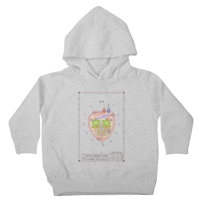 HEART MOTOR PUMP technical drawing Kids Toddler Pullover Hoody by ART MACHINE technical drawing