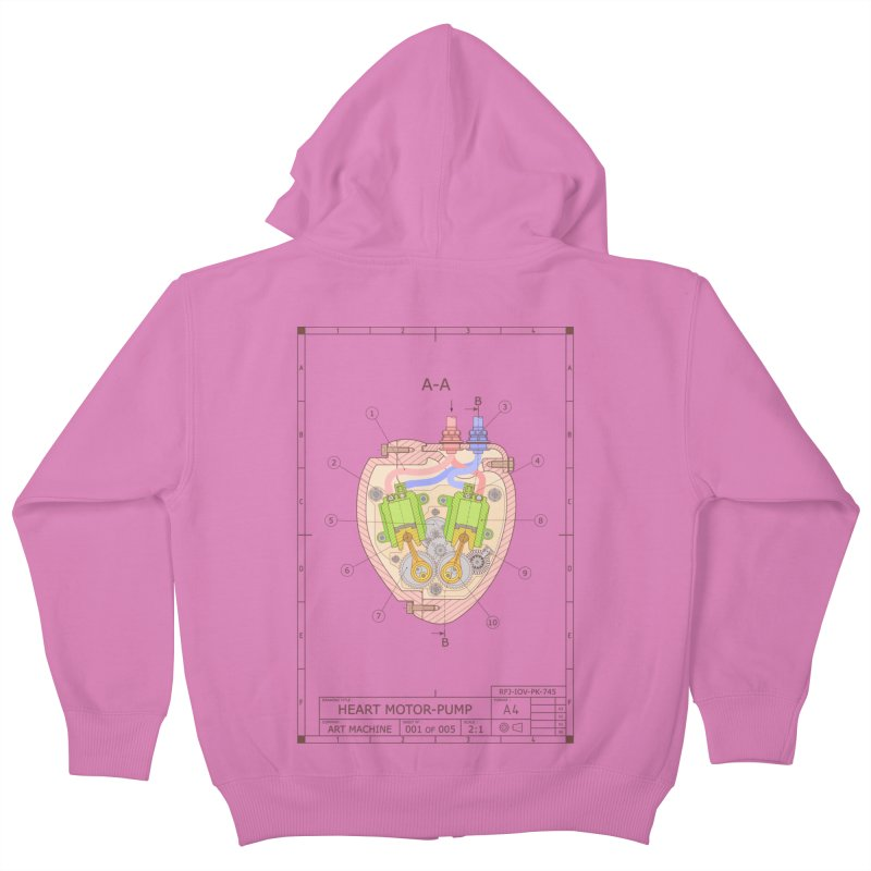 HEART MOTOR PUMP technical drawing Kids Zip-Up Hoody by ART MACHINE technical drawing