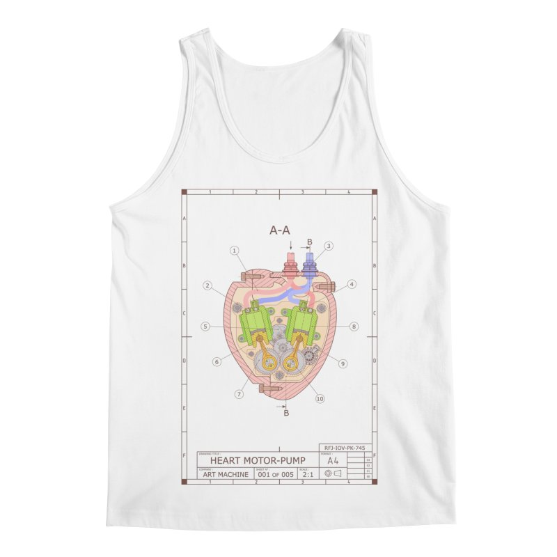 HEART MOTOR PUMP technical drawing Men's Regular Tank by ART MACHINE technical drawing