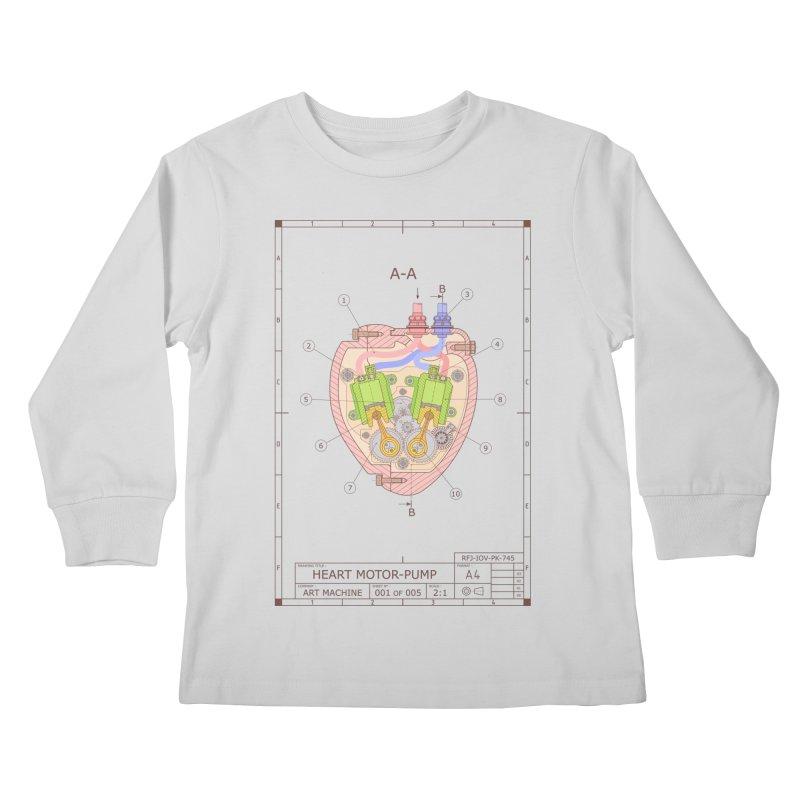 HEART MOTOR PUMP technical drawing Kids Longsleeve T-Shirt by ART MACHINE technical drawing