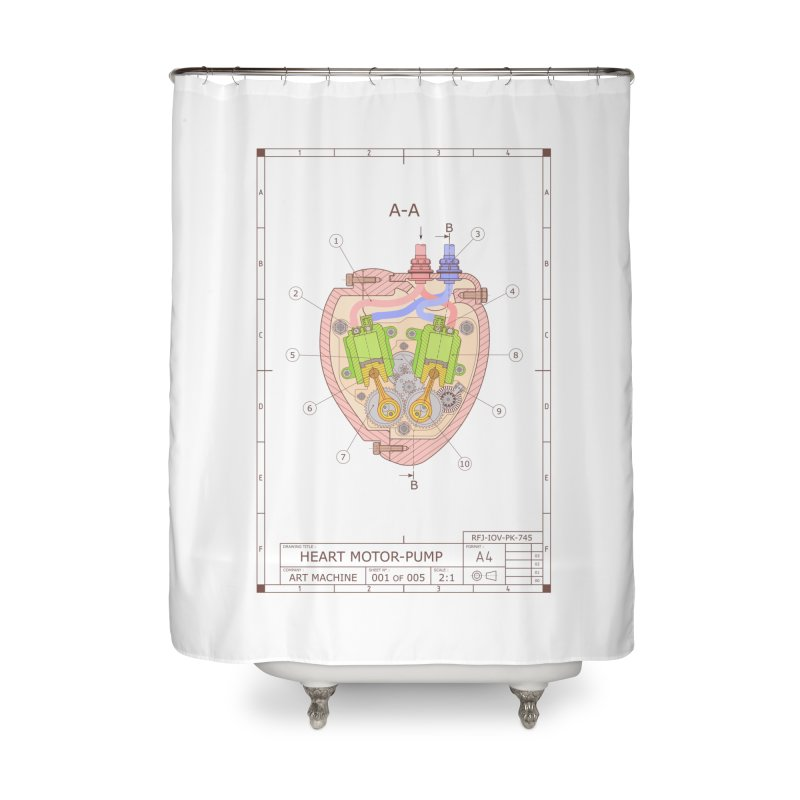 HEART MOTOR PUMP technical drawing Home Shower Curtain by ART MACHINE technical drawing