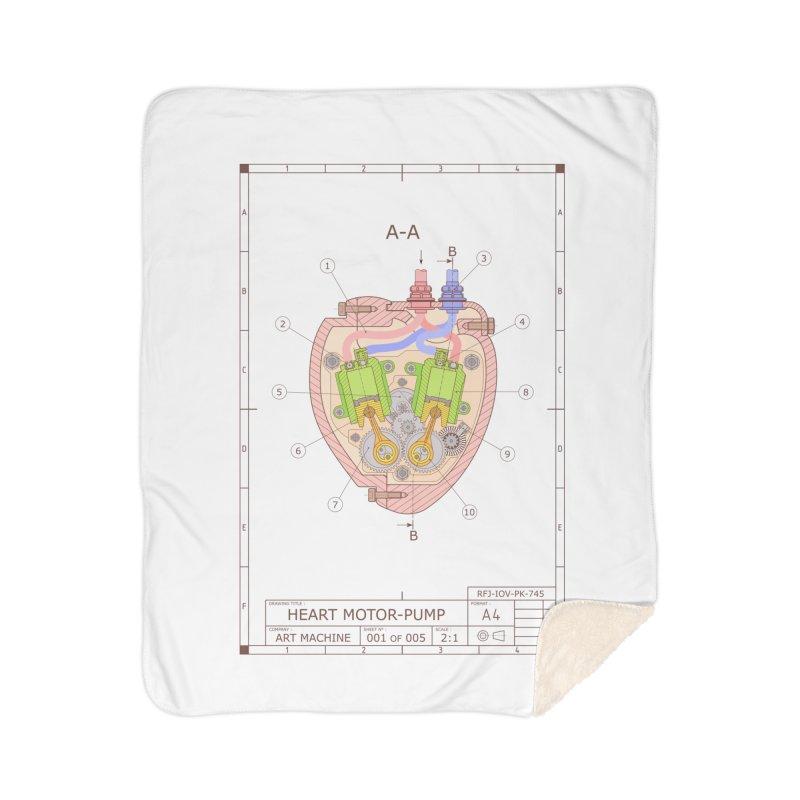 HEART MOTOR PUMP technical drawing Home Sherpa Blanket Blanket by ART MACHINE technical drawing