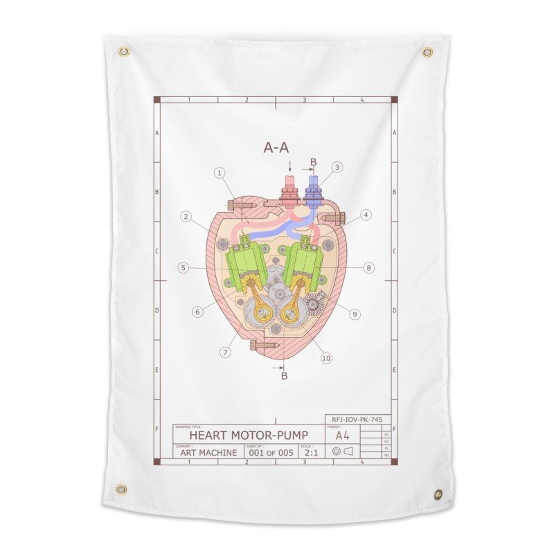 HEART MOTOR PUMP technical drawing in Tapestry by ART MACHINE technical drawing