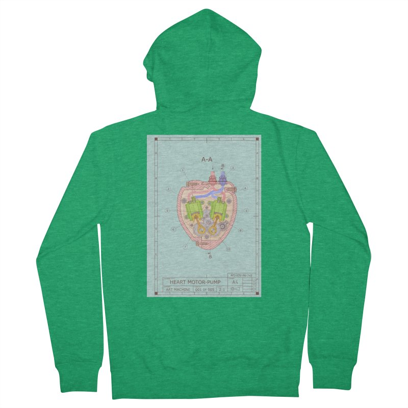 HEART MOTOR PUMP technical drawing Men's Zip-Up Hoody by ART MACHINE technical drawing