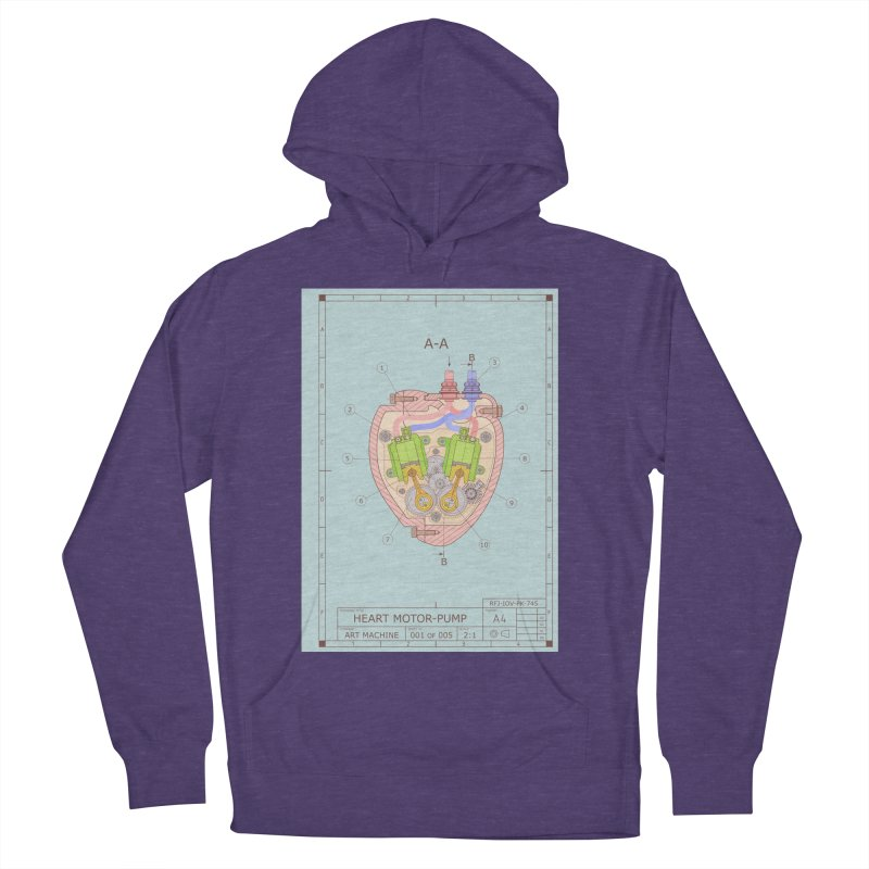 HEART MOTOR PUMP technical drawing Men's Pullover Hoody by ART MACHINE technical drawing