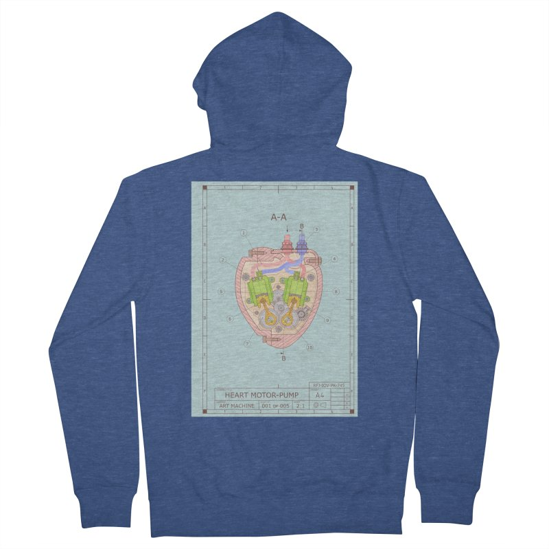 HEART MOTOR PUMP technical drawing Men's French Terry Zip-Up Hoody by ART MACHINE technical drawing