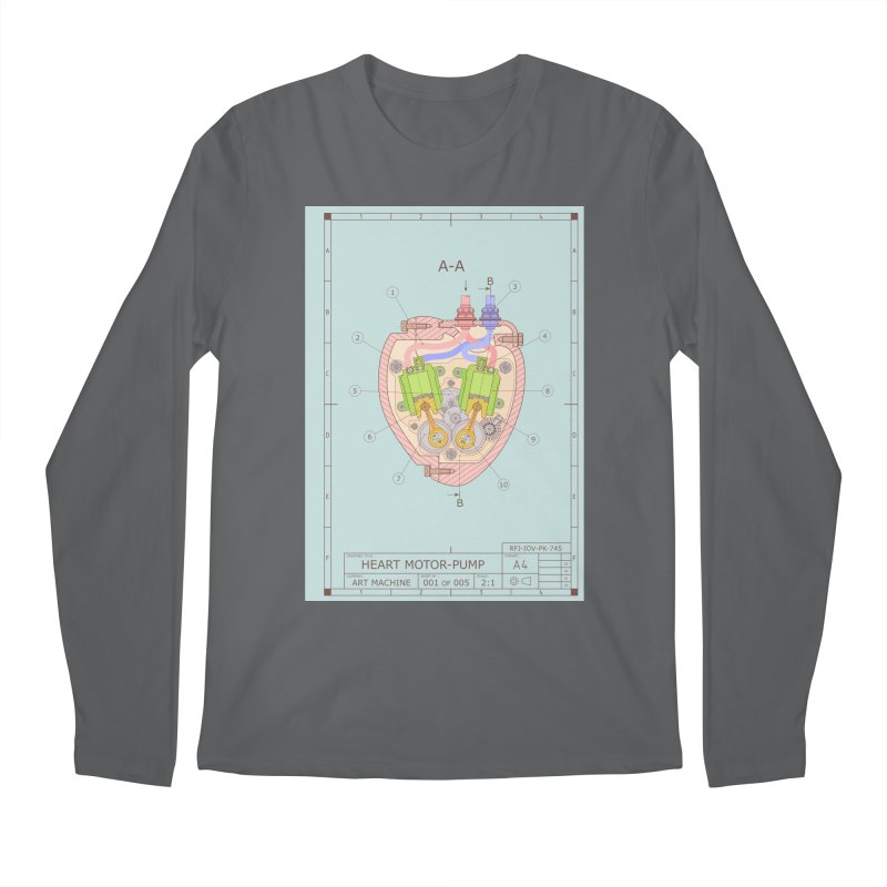 HEART MOTOR PUMP technical drawing Men's Longsleeve T-Shirt by ART MACHINE technical drawing