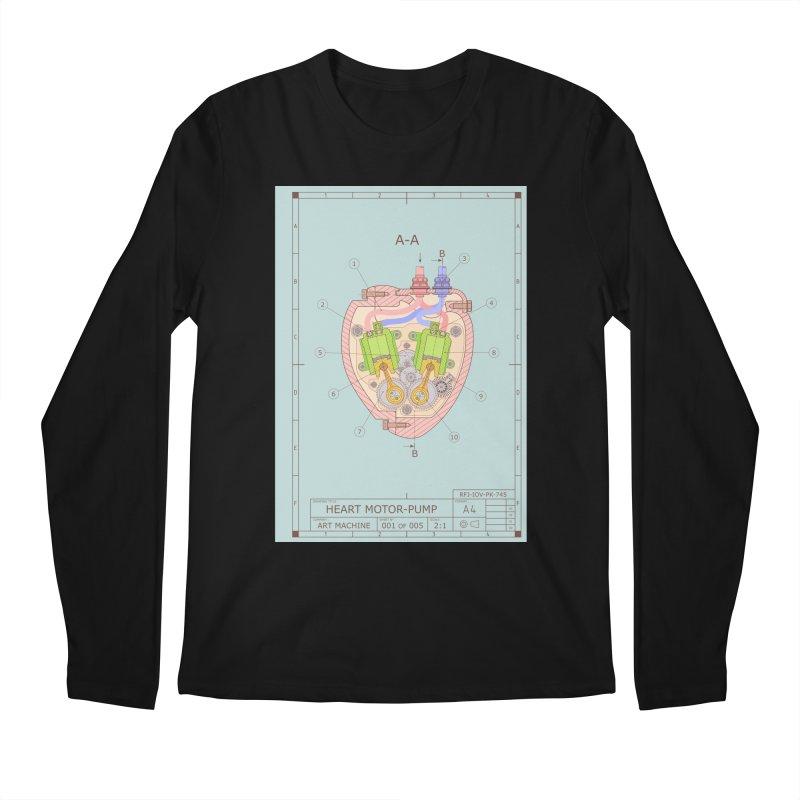 HEART MOTOR PUMP technical drawing Men's Regular Longsleeve T-Shirt by ART MACHINE technical drawing