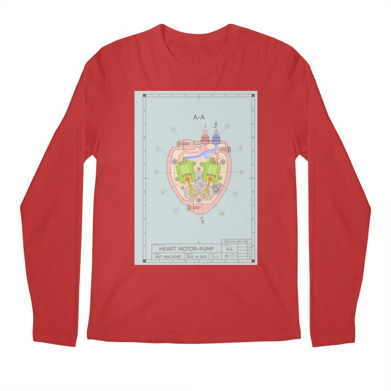 HEART MOTOR PUMP technical drawing Men's Regular Longsleeve T-Shirt by ART MACHINE technical drawing
