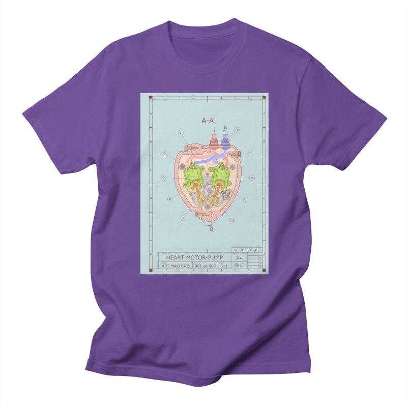 HEART MOTOR PUMP technical drawing Men's Regular T-Shirt by ART MACHINE technical drawing