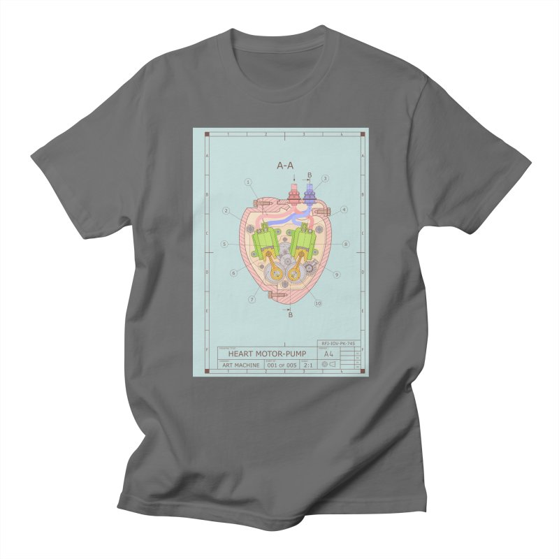 HEART MOTOR PUMP technical drawing Men's T-Shirt by ART MACHINE technical drawing