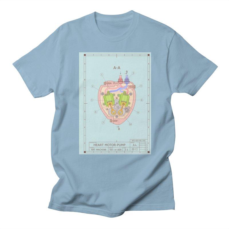 HEART MOTOR PUMP technical drawing Men's T-shirt by ART MACHINE technical drawing