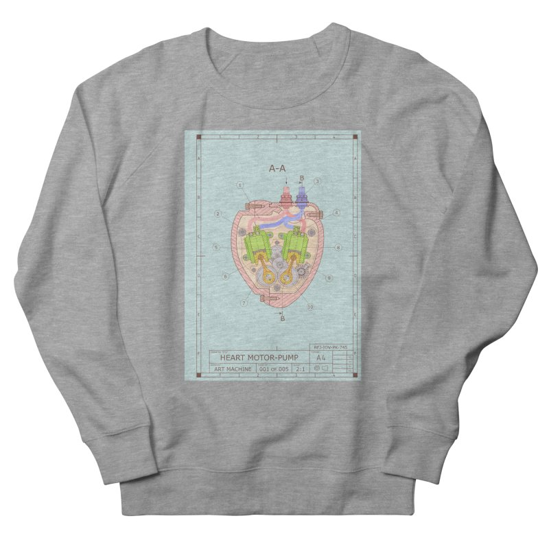 HEART MOTOR PUMP technical drawing Men's French Terry Sweatshirt by ART MACHINE technical drawing