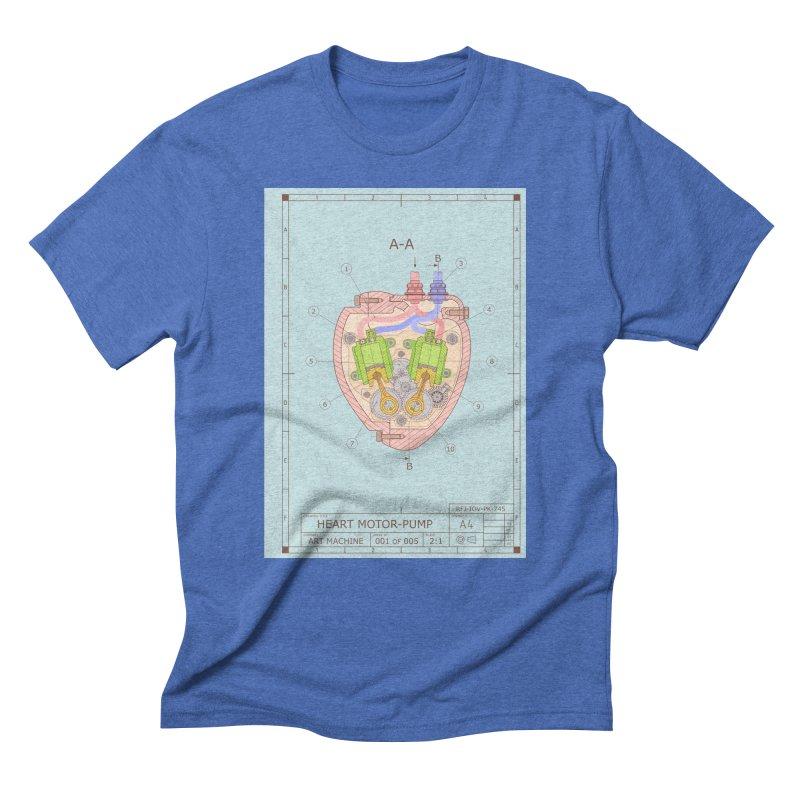 HEART MOTOR PUMP technical drawing Men's Triblend T-Shirt by ART MACHINE technical drawing