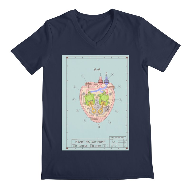 HEART MOTOR PUMP technical drawing Men's Regular V-Neck by ART MACHINE technical drawing