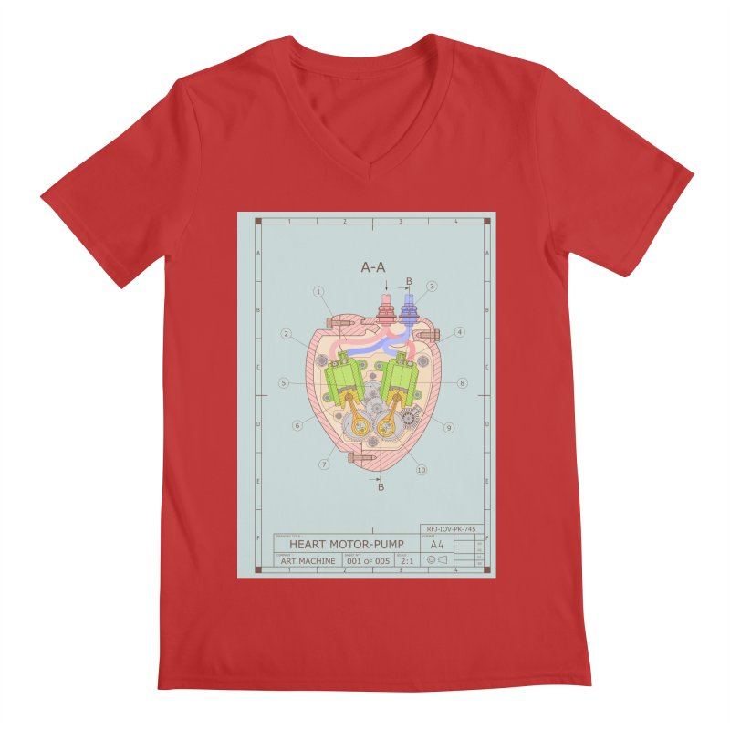HEART MOTOR PUMP technical drawing Men's V-Neck by ART MACHINE technical drawing