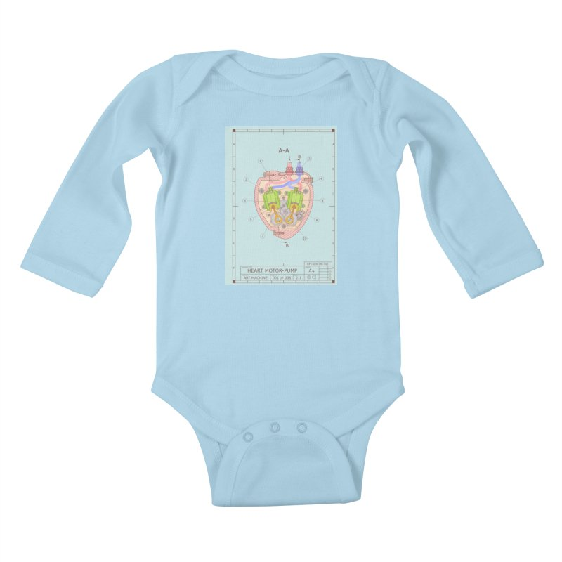 HEART MOTOR PUMP technical drawing Kids Baby Longsleeve Bodysuit by ART MACHINE technical drawing