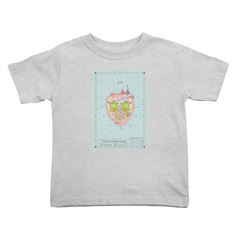 HEART MOTOR PUMP technical drawing Kids Toddler T-Shirt by ART MACHINE technical drawing