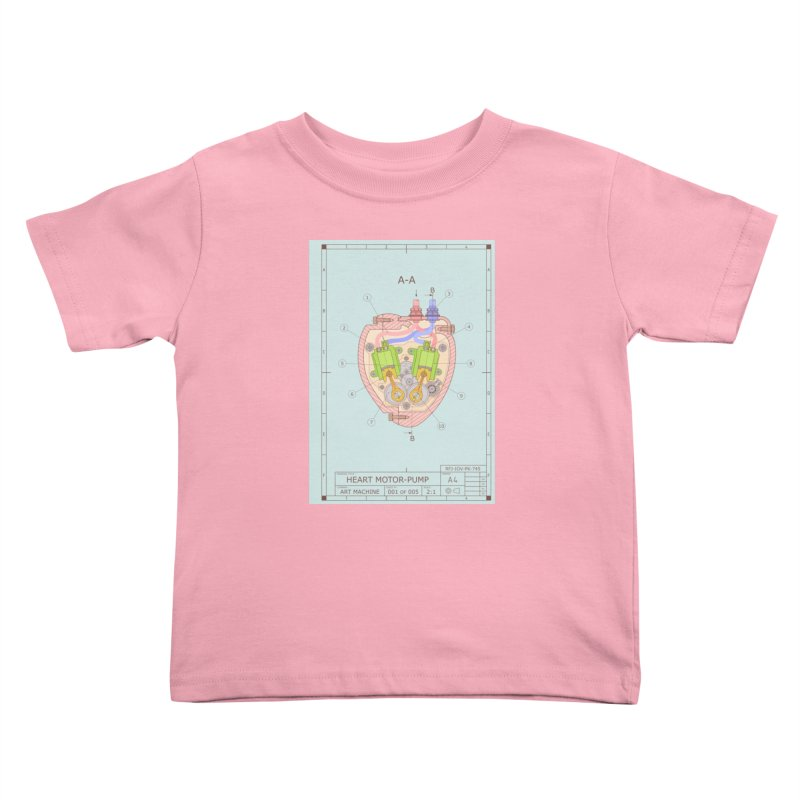 HEART MOTOR PUMP technical drawing Kids Toddler T-Shirt by ART MACHINE technical drawing