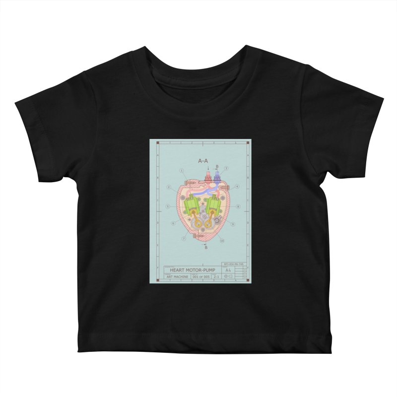 HEART MOTOR PUMP technical drawing Kids Baby T-Shirt by ART MACHINE technical drawing