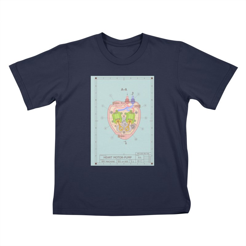 HEART MOTOR PUMP technical drawing Kids T-Shirt by ART MACHINE technical drawing