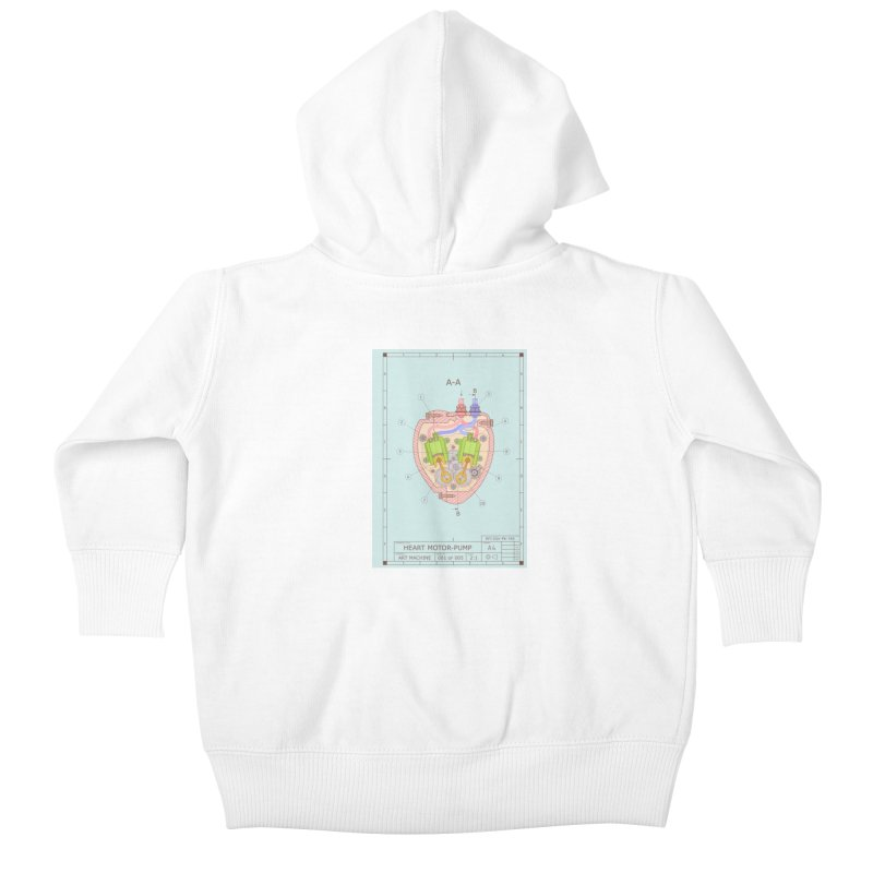 HEART MOTOR PUMP technical drawing Kids Baby Zip-Up Hoody by ART MACHINE technical drawing