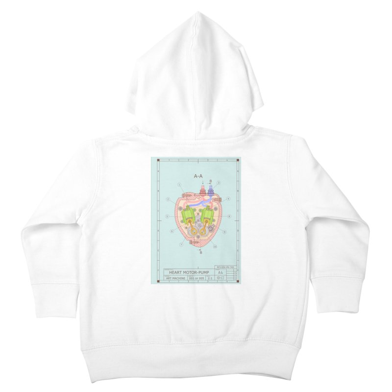HEART MOTOR PUMP technical drawing Kids Toddler Zip-Up Hoody by ART MACHINE technical drawing