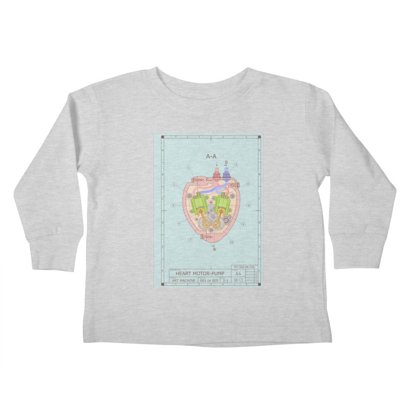 HEART MOTOR PUMP technical drawing Kids Toddler Longsleeve T-Shirt by ART MACHINE technical drawing