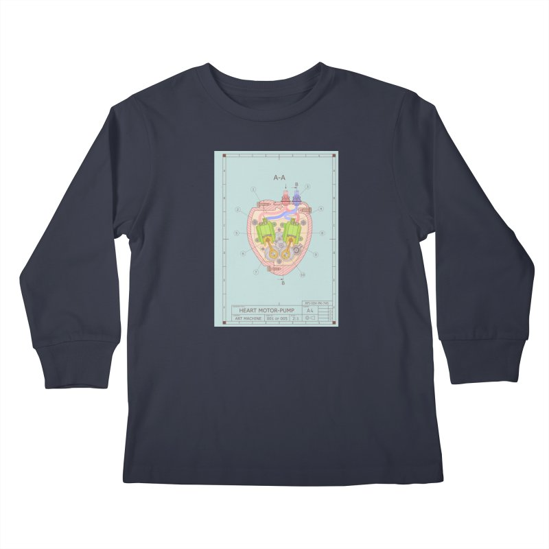 HEART MOTOR PUMP technical drawing Kids Longsleeve T-Shirt by ART MACHINE technical drawing