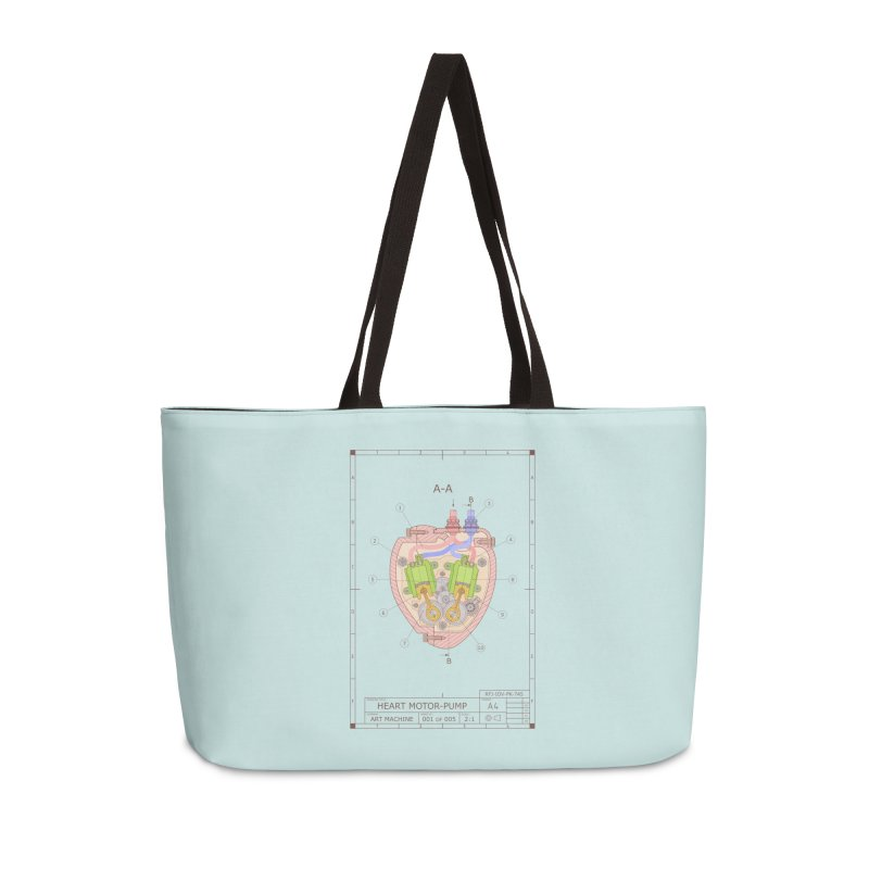 HEART MOTOR PUMP technical drawing Accessories Weekender Bag Bag by ART MACHINE technical drawing